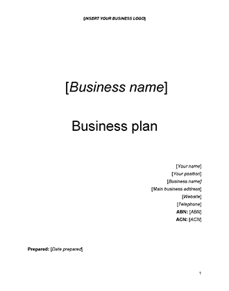 Starting Your Business - Business Plan Template